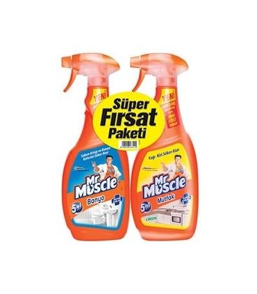 Mr Muscle پک دوتایی اسپری تمیز کننده سرویس بهداشتی و آشپزخانه 5 در 1 مستر ماسکل