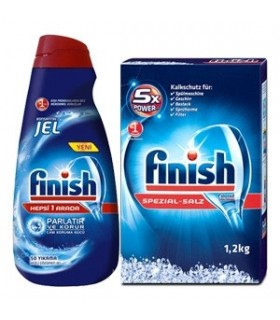 Finish پک ژل ماشین ظرفشویی همه کاره 1 لیتری و نمک ماشین ظرفشویی 1.2 کیلوگرمی فینیش