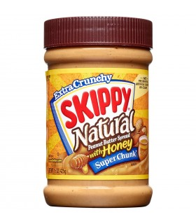 Skippy کره بادام زمینی سوپر چانک عسلی ارگانیک و بدون گلوتن 425 گرمی اسکیپی