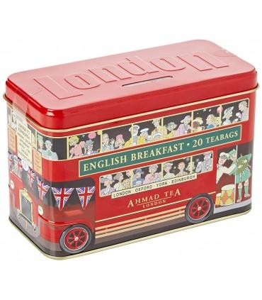 Ahmad Tea چای جعبه فلزی اتوبوس لندن 20 عددی احمد انگلستان