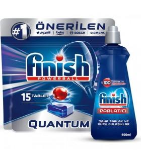 Finish پک قرص کوآنتوم 15 عددی و جلا دهنده ماشین ظرفشویی 400 میلی لیتر فینیش
