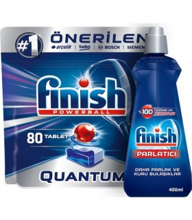 Finish پک قرص کوآنتوم 80 عددی و جلا دهنده کلاسیک 400 میلی لیتر ماشین ظرفشویی فینیش