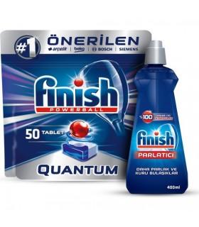 Finish پک قرص کوآنتوم 50 عددی و جلا دهنده ماشین ظرفشویی کلاسیک 400 میلی لیتر فینیش