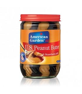 American Garden کره بادام زمینی با مربای توت فرنگی 510 گرمی امریکن گاردن