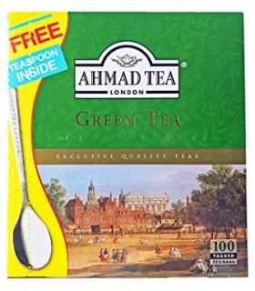 Ahmad Tea چای سبز 100 عددی همراه با قاشق چای خوری احمد تی