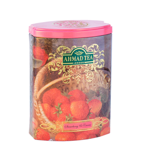Ahmad tea چای جعبه فلزی توت فرنگی و خامه 100 گرمی احمد تی