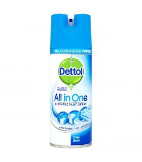 Dettol اسپری ضدعفونی کننده ضدآنفولانزا رایحه پارچه کتان تمیز 400 میل دتول