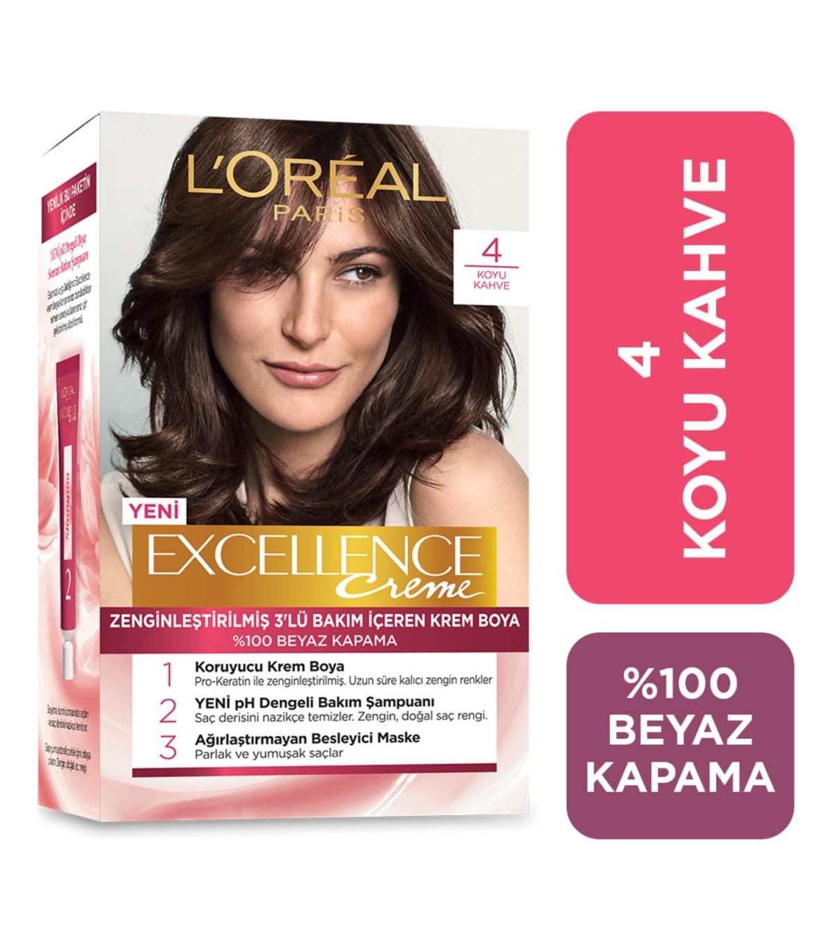 Loreal کیت رنگ مو اکسلنس شماره 4 اورآل